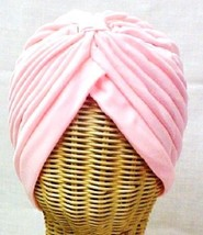 Chemo Turban Pink Polyester Knit Gathered Knotted Style Head Cover Cap Hat New - $12.71