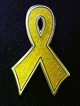 Childhood Cancer Pin Gold Bling Awareness Ribbon Sparkles Lapel Pins New image 3