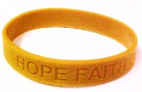 Childhood Cancer Awareness Gold Silicone Jelly Bracelet 50 piece Lot Latex Free