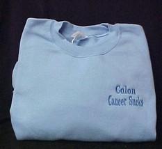 Colon Cancer Sucks Blue Embroidered Crew neck Sweatshirt Unisex XL New - $23.73