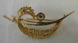 Costume Fashion Gold Plated Open Jagged Curled Leaf Pin Brooch Vintage - $19.77