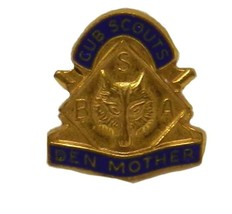 Cub Scouts Den Mother Lapel Pin Gold Vintage Boy Scout of America Wolf Cub - $24.47