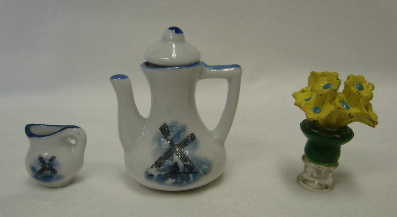 Primary image for Delft Windmill Blue White Pitcher Creamer Yellow Flower Vase Vintage Miniature