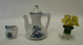 Delft Windmill Blue White Pitcher Creamer Yellow Flower Vase Vintage Min... - $19.17