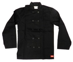 Dickies Black Chef Coat Jacket CW070305A Restaurant Button Front Uniform... - $39.17