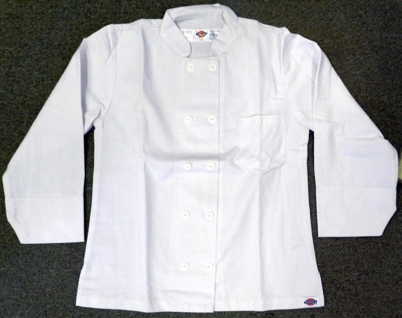 Primary image for Dickies Chef Coat Jacket CW070309A Restaurant Button Front White Uniform S New