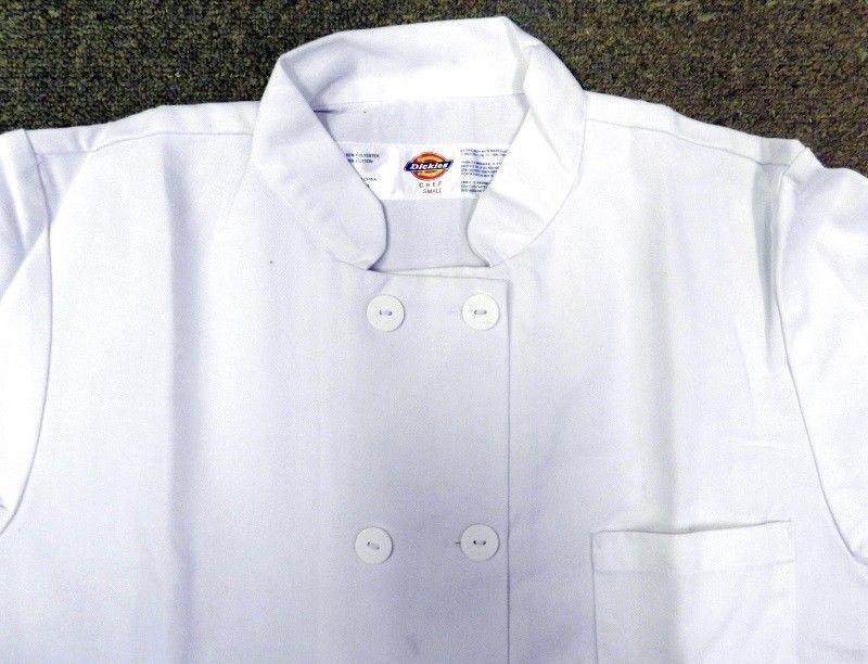 Dickies Chef Coat Jacket CW070305C Double Breasted Button Front White XL New