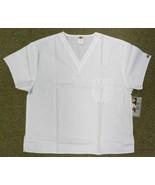 Dickies Chef Restaurant Staff Server V Neck White Scrub S/S Top Shirt M New - $19.77