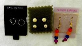 Fashion 4 Pc Lot Earrings Sterling Silver Hoop Stud Pearl Bead Dangle Pierced - $19.57