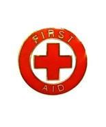 First Aid Red Cross Lapel Collar Pin Device Gold Trim Clutch Backs 69G2 New - $12.84