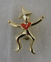 Fashion Costume Gold Plate Orange Triangle China Tin Stick Man Pin Brooch - $19.77