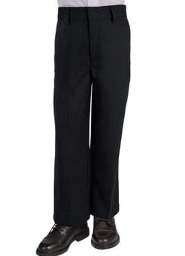 French Toast Black Pants School Uniform Boys Flat Front Double Knee 18 Reg New