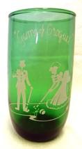 Forest Green Drinking Glass White Enamel Game Croquet Scene Anchor Hocki... - $39.17