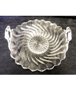 Fostoria Glass Co Colony Clear Swirl Handled Muffin Tray Serving Platter... - $29.37