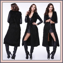 Slimming Thick Black Curly Long Hair Faux Fur Midi Length Warm Fashion Vest image 1