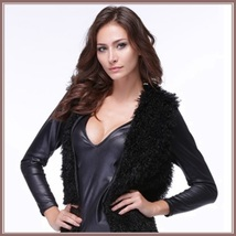 Slimming Thick Black Curly Long Hair Faux Fur Midi Length Warm Fashion Vest image 2