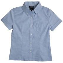 French Toast Girls School Uniform S/S Oxford Shirt with Darts Blue 20 1/2 Plus - $12.71