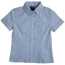 French Toast Girls School Uniform S/S Oxford Blouse Shirt with Darts Blue 5 - $12.58