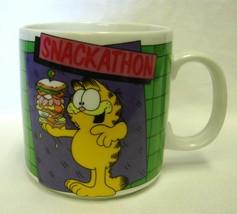 Garfield Cat Mug Snackathon Sandwich Coffee Cup Vintage Enesco Jim Davis - $15.49