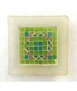 Frosted Clear Pink Green Mosaic Tile Square Glass Votive Pillar Candle H... - $19.57