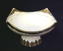 Gold Edge Base Pedestal Candy Nut Dish Compote Center Piece  IL 2937 Vintage - $29.37