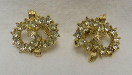 Gold Pretzel Twist Rhinestone Clip On Back Earrings Vintage Costume Fashion - $24.47