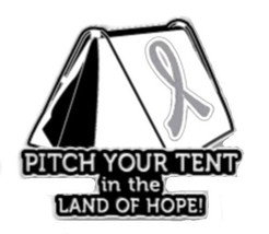 Gray Silver Awareness Ribbon Pin Tent Camping Campers Sportsman Cancer Cause New - $13.97