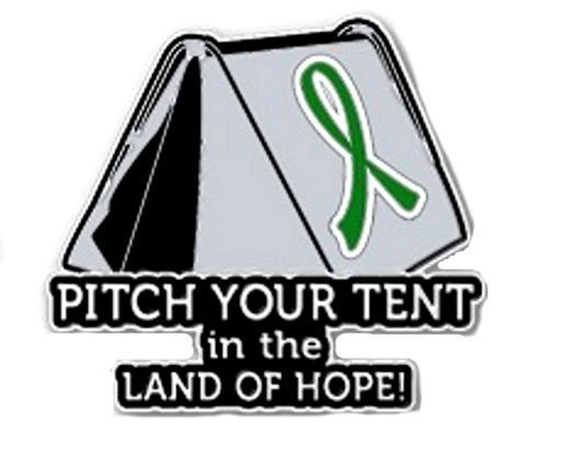 Primary image for Green Cancer Awareness Ribbon Lapel Pin Pitch Tent Land Hope Camping Camper New