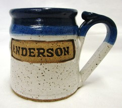 Handcrafted Art Pottery Gray Cup Mug ANDERSON M/T M/I Homes Blue Speckled - $24.47