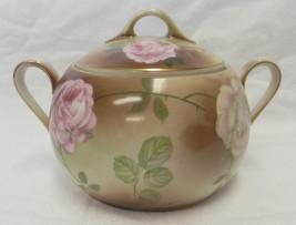 Handpainted PSAG Bavaria Pink White Rose Covered Cracker Sugar Dish Vintage - $58.77