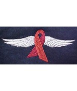 Heart Disease Awareness Month is February Red Ribbon Wing Navy Sweatshir... - $30.66
