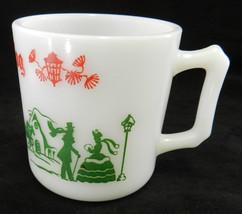 Hazel Atlas Christmas Village Red Green Milk White Glass Egg Nog Mug Vintage - $29.37
