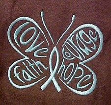 Hope Courage Faith Teal Butterfly Brown S/S T Shirt Ovarian Cancer L Uni... - $19.77