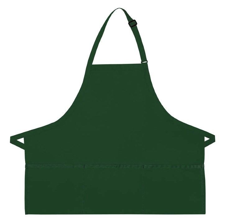 Hunter Green Bib Apron 3 Pocket Craft Restaurant Baker Butcher Adjust USA New