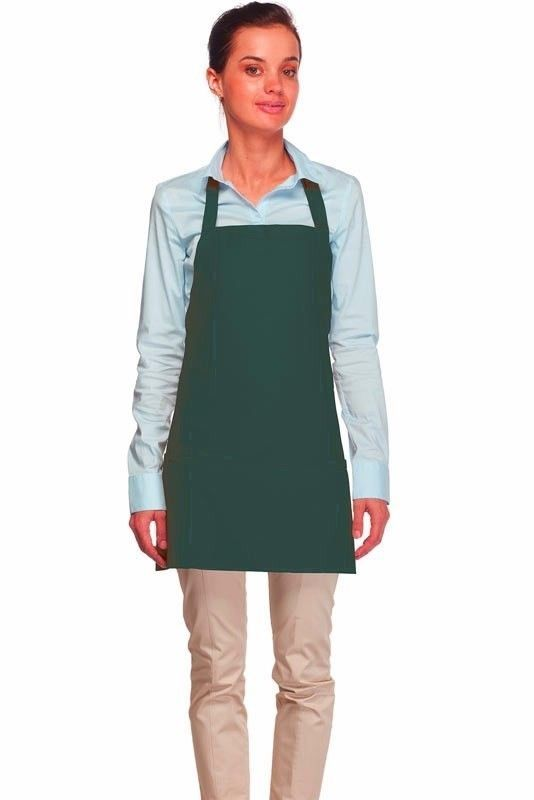 Hunter Green Bib Apron 3 Pocket Craft Restaurant Baker Butcher Adjust USA New image 2