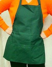 Hunter Green Bib Apron 3 Pocket Craft Restaurant Baker Butcher Adjust USA New image 3