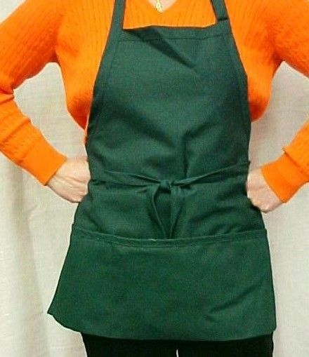 Hunter Green Bib Apron 3 Pocket Craft Restaurant Baker Butcher Adjust USA New image 4