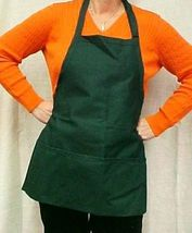 Hunter Green Bib Apron 3 Pocket Craft Restaurant Baker Butcher Adjust USA New image 5