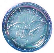 Indiana Bicentennial Iridescent Carnival Glass Plate 1776-1976 Blue Vintage - $32.31