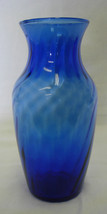 Indiana Company Lancaster Colony Cobalt Blue Swirl Glass Vase USA - $23.97