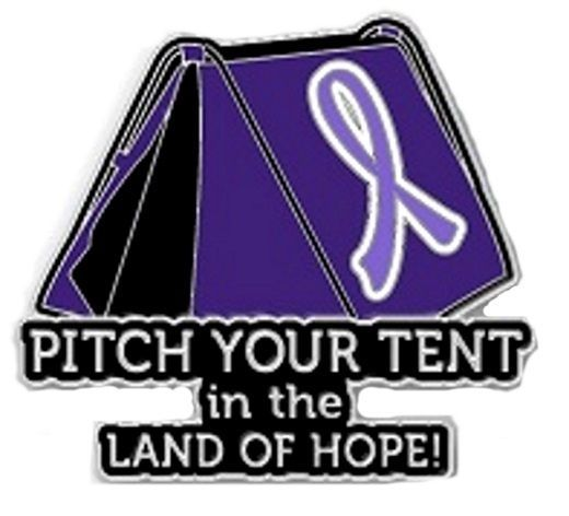 Primary image for Lavender Awareness Ribbon Pin Pitch Your Tent in Land of Hope Camping Camper New