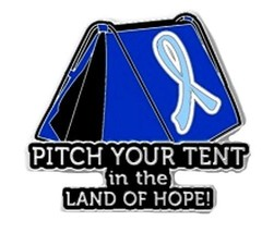 Light Blue Cancer Awareness Ribbon Pin Pitch Tent Land Hope Camping Insp... - $13.97