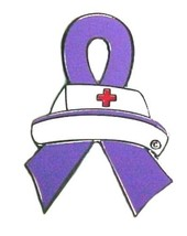 Lavender Awareness Ribbon Pin Tac Nurse Cap Medical Nursing Cancer Cause... - $13.97