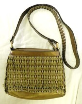Liz Claiborne Gold Silver Olive Rope Woven Small Handbag Purse Shoulder Bag - $23.49