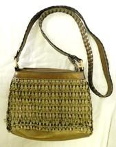 Liz Claiborne Gold Silver Olive Rope Woven Small Handbag Purse Shoulder Bag - $23.25