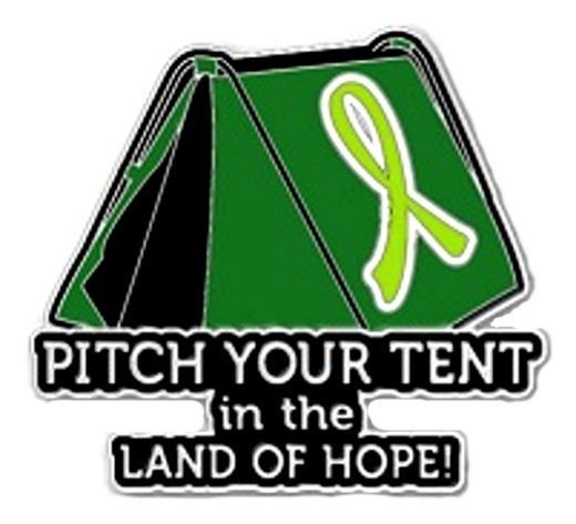 Primary image for Lime Green Cancer Awareness Ribbon Pin Pitch Tent Land Hope Camping Camper New