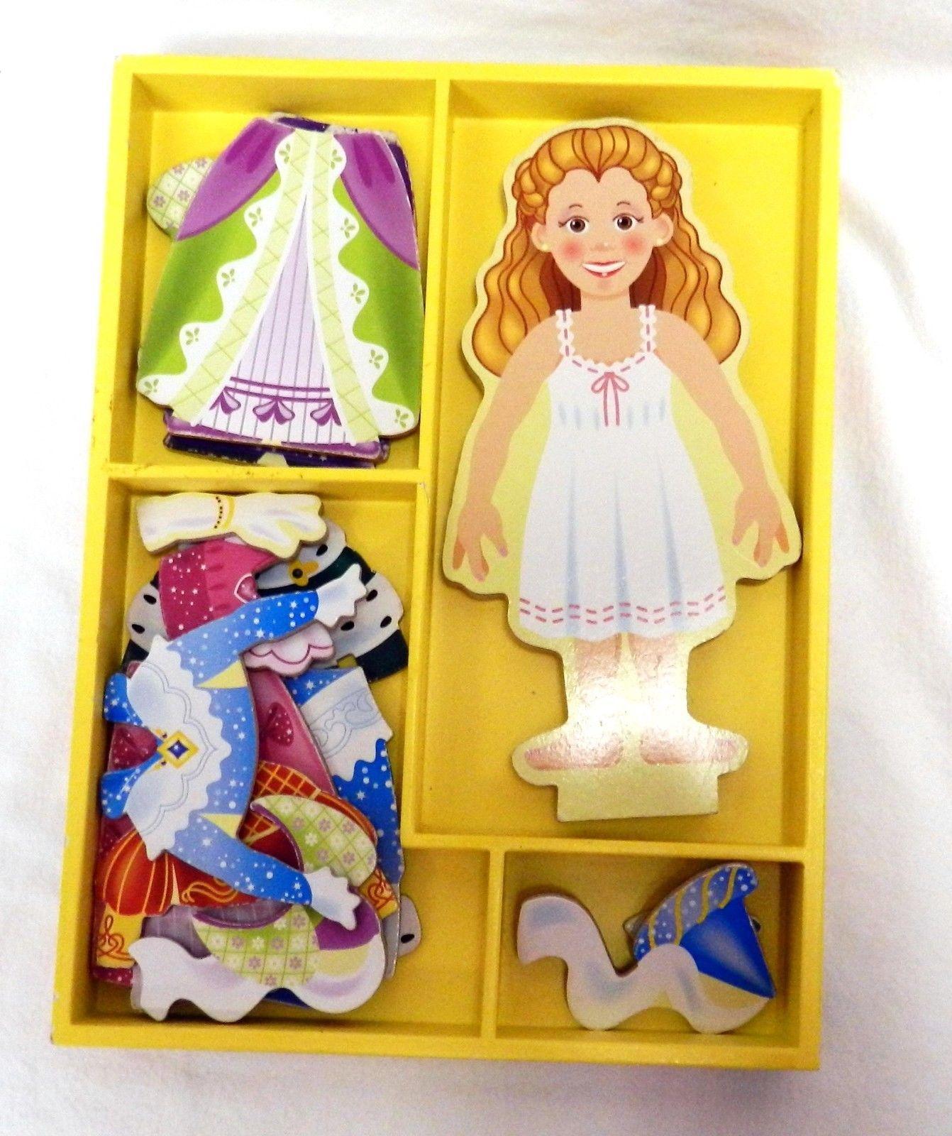 Melissa & Doug Magnetic Dress Up Princess Elise Wooden Clothing Doll Set - $17.43