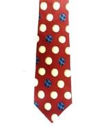 Nautica 100% Silk Neck Tie Plaid Golf Ball Maroon Burgundy Red Men's Gen... - $29.07