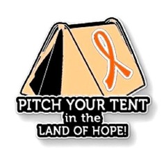 Orange Ribbon Awareness Pin Tent Many Cancer Causes Animal Abuse Melanom... - $13.97