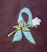 Ovarian Cancer Ectodermal Dysphasia Teal Ribbon Rose Brown S/S T-Shirt 4... - $24.93